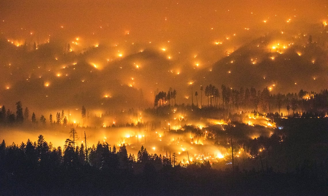 The 2014 El Portal fire burning near Yosemite National Park, California. Scientists have warned that rising global temperatures will lead to more wildfires in Yosemite and elsewhere. Photograph: Stuart Palley/EPA  theguardian.com - Peter Brannen - September 9th 2017