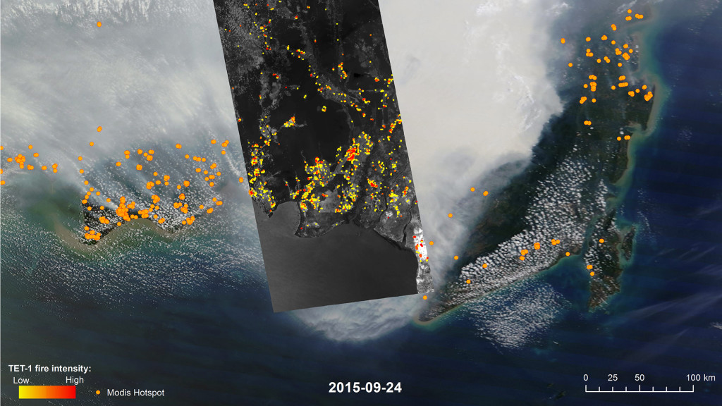 An image taken by German satellite TET-1, superimposed over one taken by NASA's MODIS, show just how many fires in Indonesia there were on September 24, 2015. DLR
