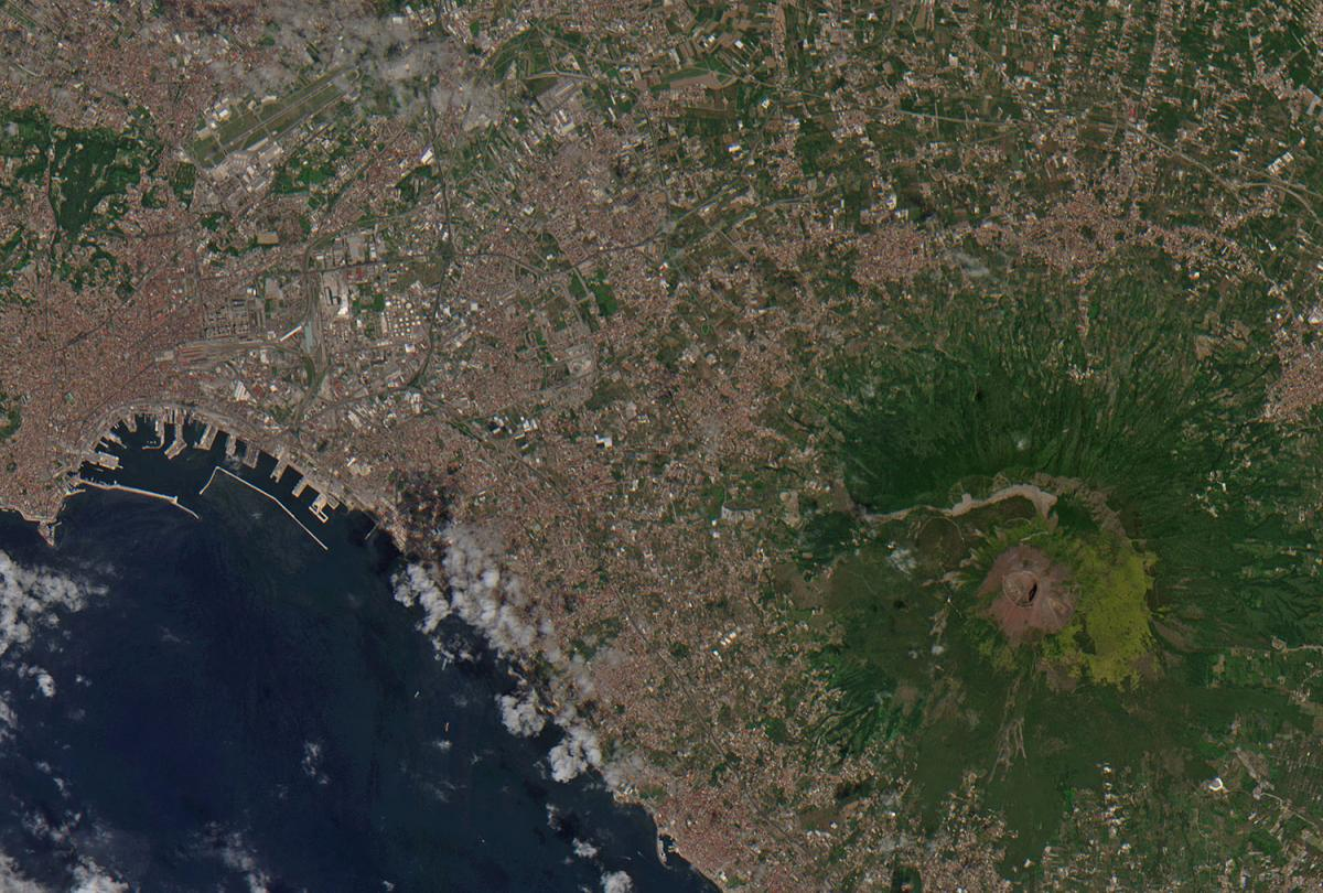 Vesuvius and the surrounding Naples metropolitan area. Seen on July 28, 2015. Copernicus Sentinel data (2015)/ESA