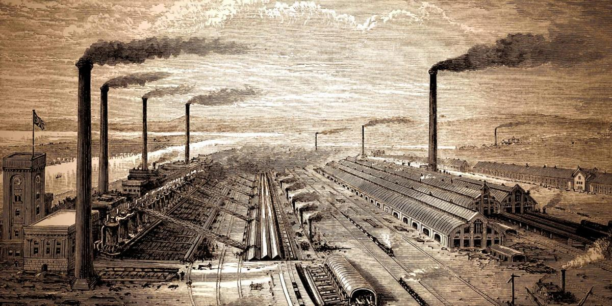 Industrial Age factory and railway engraving. (Washington Post illustration; iStock)