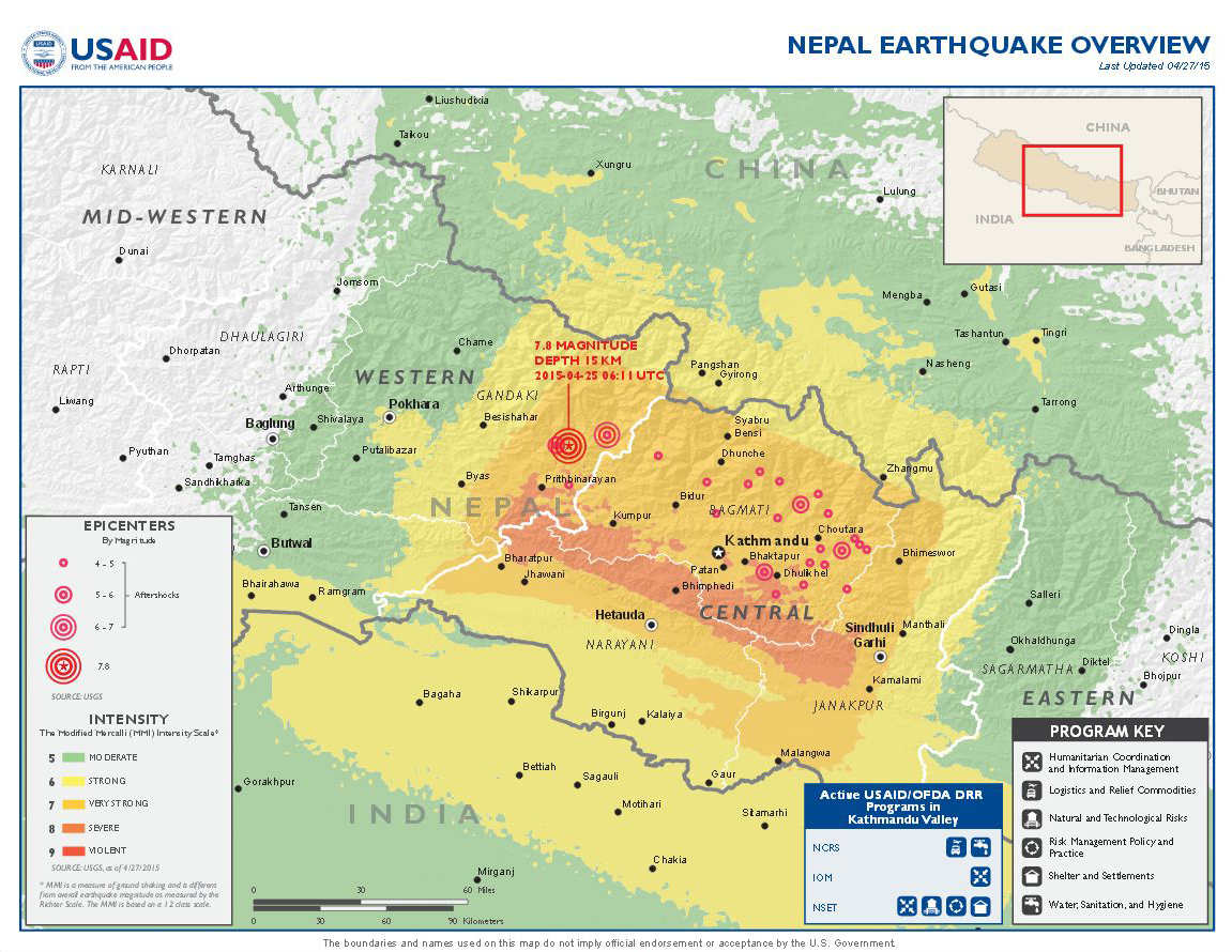 Update Of Earthquake In Nepal Global - Nepal on map