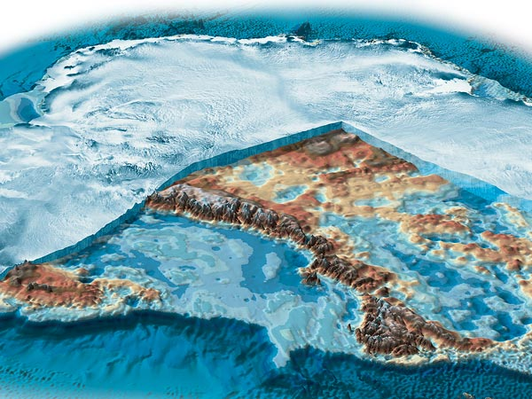 A cutaway view of Antarctica shows its southern ice sheet. (Map from National Geographic)
