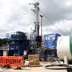 Image: Fracking fight: In mid-August, the energy company Cuadrilla Resources suspended operations of this exploratory shale gas drilling site in southeast England after protests from residents and environmentalists.